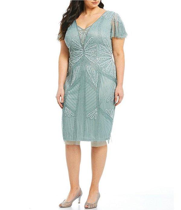 アドリアナ パペル レディース ワンピース トップス Plus Size Flutter Sleeve Beaded Sheath Dress Horizon