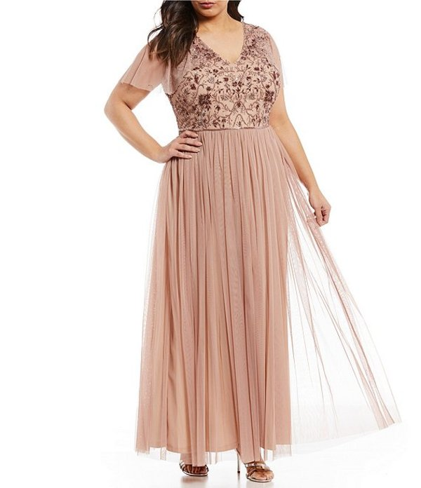 アドリアナ パペル レディース ワンピース トップス Plus Size Long Beaded V-Neck Bodice Flutter Sleeve Tulle A-Line Gown Rose Gold