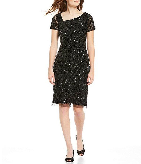 アドリアナ パペル レディース ワンピース トップス Asymmetrical Neck Beaded Sheath Dress Black