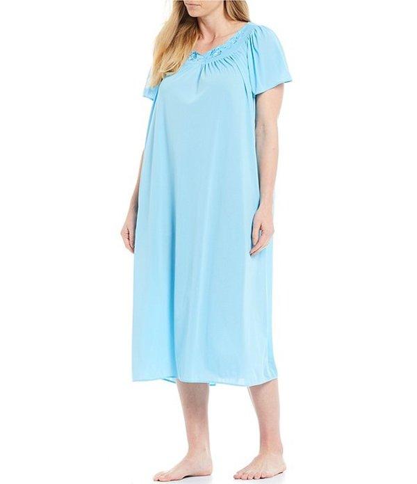 ミス エレーン レディース ナイトウェア アンダーウェア Plus Short-Sleeve Long Gown Marina Blue