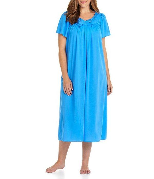 ミス エレーン レディース ナイトウェア アンダーウェア Plus Short-Sleeve Long Gown Sapphire