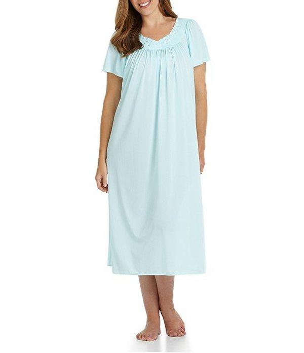 ミス エレーン レディース ナイトウェア アンダーウェア Plus Short-Sleeve Long Gown Seafoam