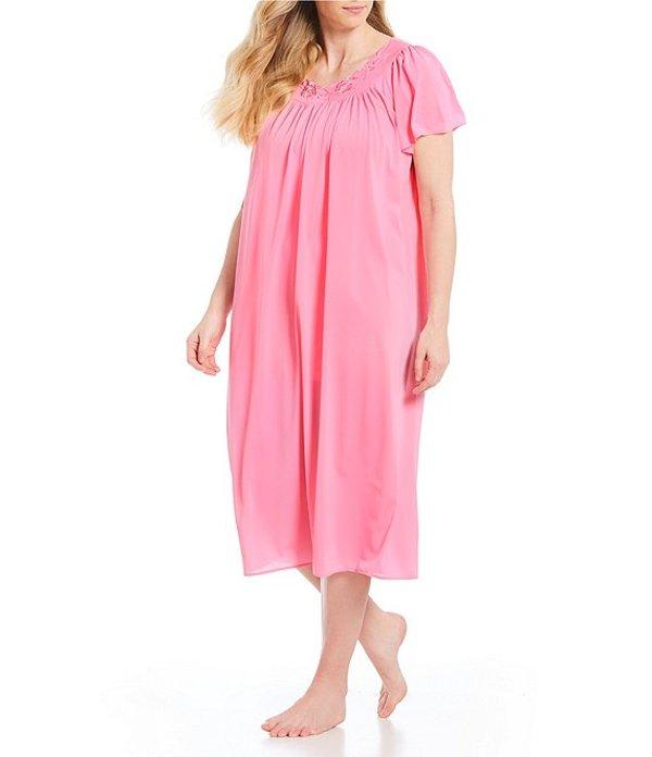 ミス エレーン レディース ナイトウェア アンダーウェア Plus Short-Sleeve Long Gown Spring Pink