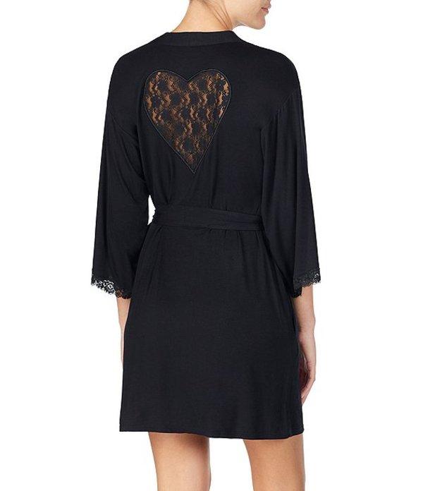 ベッツィジョンソン レディース ナイトウェア アンダーウェア Lace Heart-Inset Wrap Robe Black