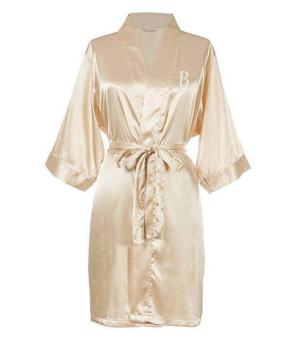 キャシーズ コンセプツ レディース ナイトウェア アンダーウェア Personalized Gold Luxury Satin Robe B