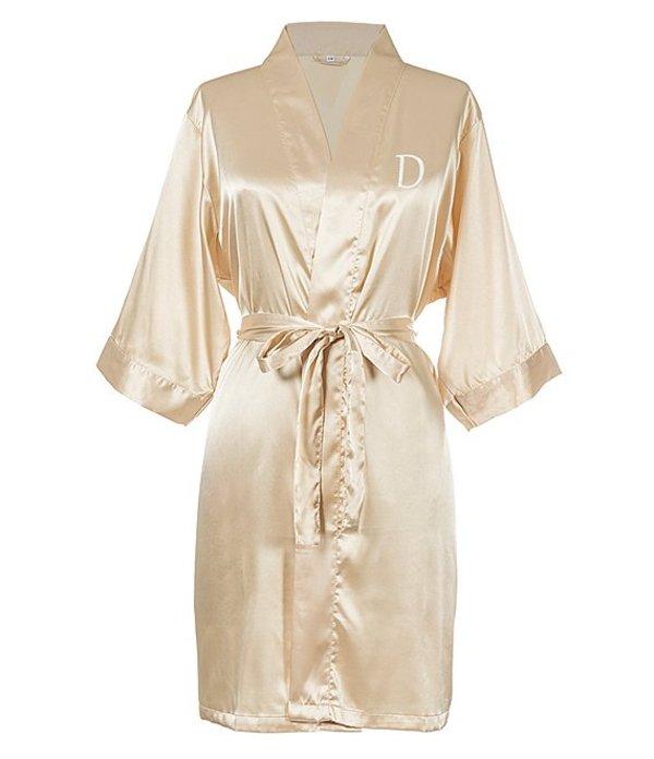 キャシーズ コンセプツ レディース ナイトウェア アンダーウェア Personalized Gold Luxury Satin Robe D