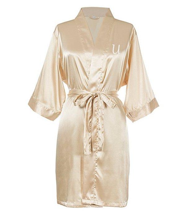キャシーズ コンセプツ レディース ナイトウェア アンダーウェア Personalized Gold Luxury Satin Robe U