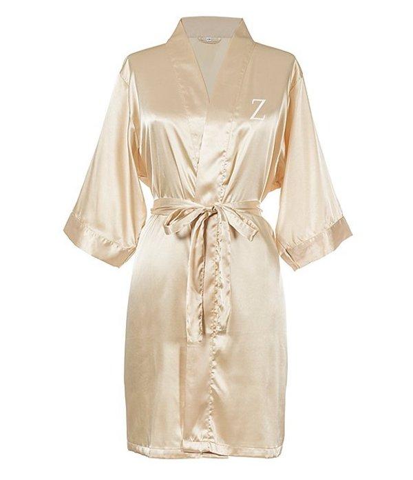 キャシーズ コンセプツ レディース ナイトウェア アンダーウェア Personalized Gold Luxury Satin Robe Z