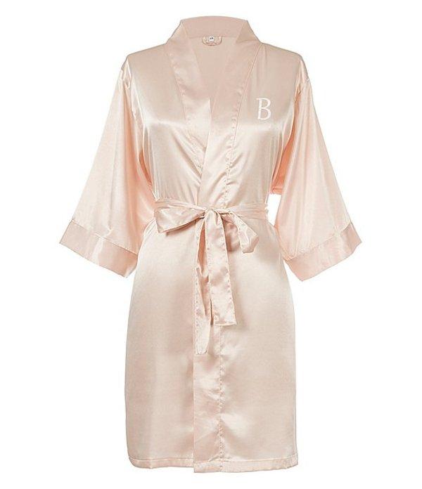キャシーズ コンセプツ レディース ナイトウェア アンダーウェア Personalized Blush Pink Luxury Satin Robe B