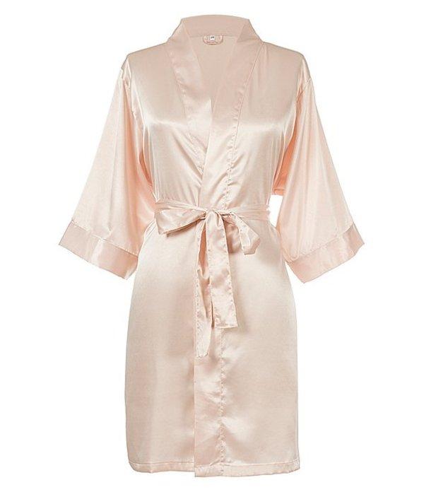 キャシーズ コンセプツ レディース ナイトウェア アンダーウェア Personalized Blush Pink Luxury Satin Robe Blush Pink