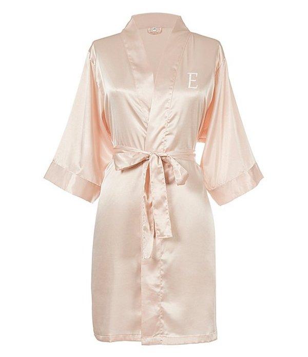 キャシーズ コンセプツ レディース ナイトウェア アンダーウェア Personalized Blush Pink Luxury Satin Robe E