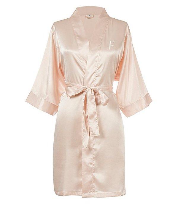 キャシーズ コンセプツ レディース ナイトウェア アンダーウェア Personalized Blush Pink Luxury Satin Robe F