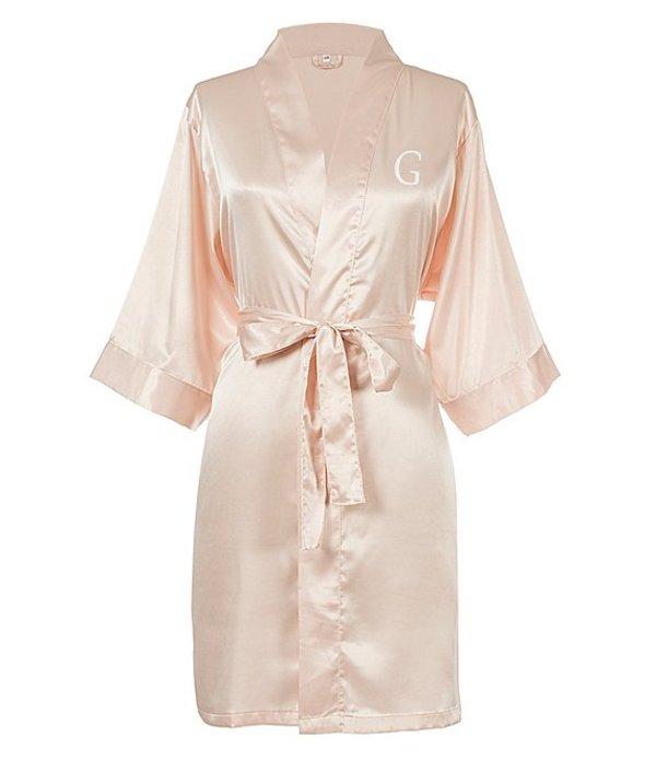 キャシーズ コンセプツ レディース ナイトウェア アンダーウェア Personalized Blush Pink Luxury Satin Robe G