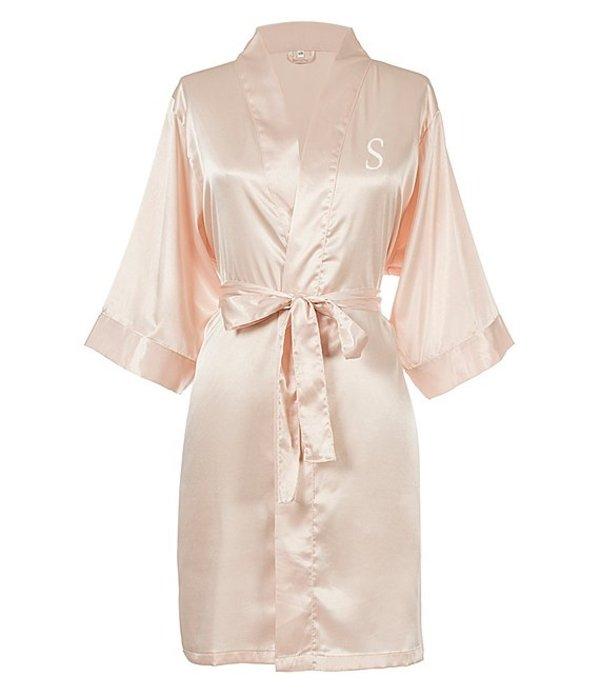 キャシーズ コンセプツ レディース ナイトウェア アンダーウェア Personalized Blush Pink Luxury Satin Robe S