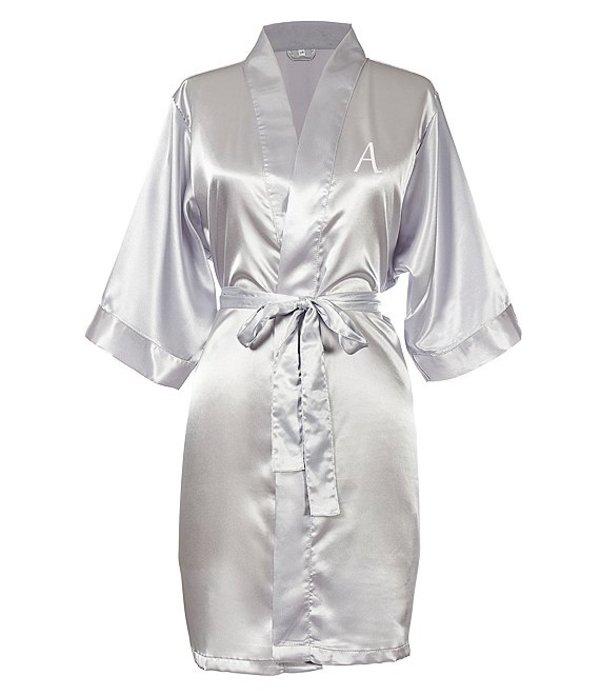 キャシーズ コンセプツ レディース ナイトウェア アンダーウェア Personalized Silver Luxury Satin Robe A