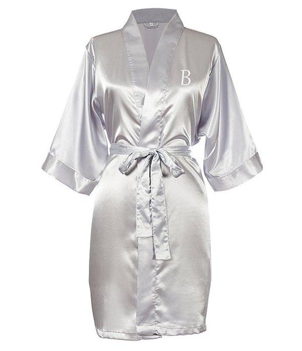 キャシーズ コンセプツ レディース ナイトウェア アンダーウェア Personalized Silver Luxury Satin Robe B