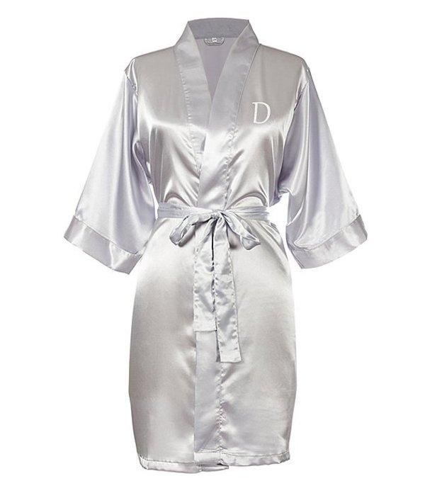 キャシーズ コンセプツ レディース ナイトウェア アンダーウェア Personalized Silver Luxury Satin Robe D