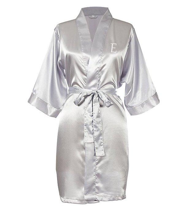 キャシーズ コンセプツ レディース ナイトウェア アンダーウェア Personalized Silver Luxury Satin Robe E