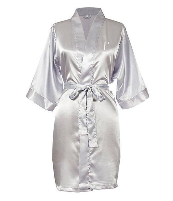 キャシーズ コンセプツ レディース ナイトウェア アンダーウェア Personalized Silver Luxury Satin Robe F
