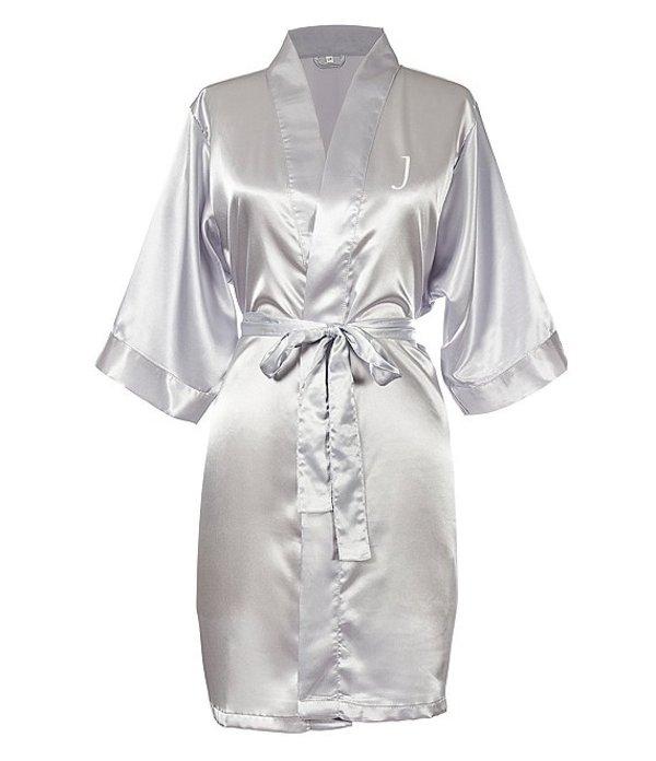 キャシーズ コンセプツ レディース ナイトウェア アンダーウェア Personalized Silver Luxury Satin Robe J