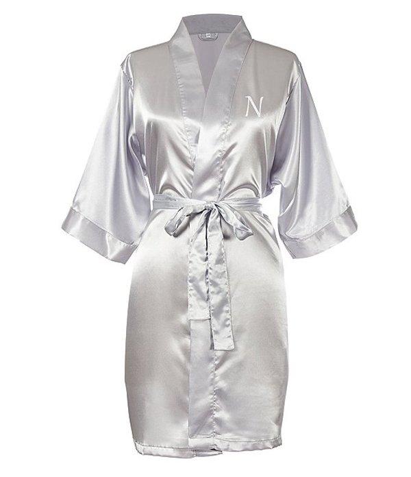 キャシーズ コンセプツ レディース ナイトウェア アンダーウェア Personalized Silver Luxury Satin Robe N