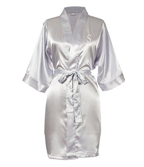 キャシーズ コンセプツ レディース ナイトウェア アンダーウェア Personalized Silver Luxury Satin Robe S