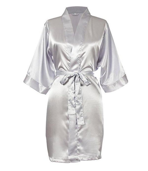 キャシーズ コンセプツ レディース ナイトウェア アンダーウェア Personalized Silver Luxury Satin Robe Silver