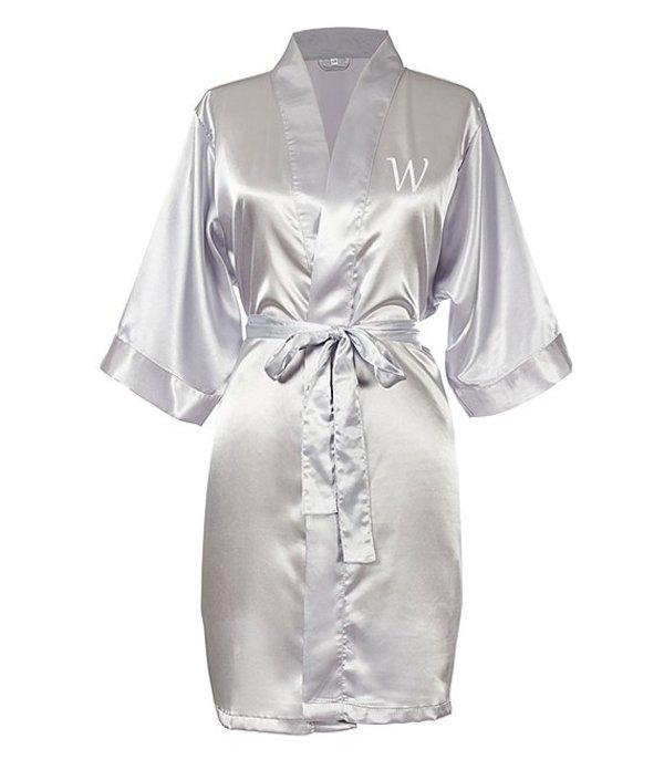 キャシーズ コンセプツ レディース ナイトウェア アンダーウェア Personalized Silver Luxury Satin Robe W