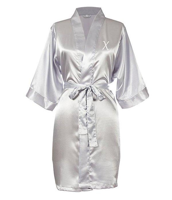 キャシーズ コンセプツ レディース ナイトウェア アンダーウェア Personalized Silver Luxury Satin Robe X