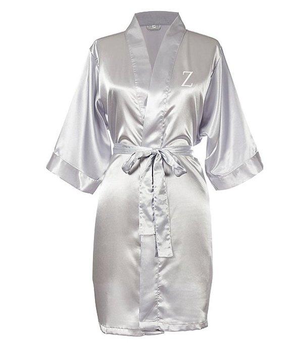キャシーズ コンセプツ レディース ナイトウェア アンダーウェア Personalized Silver Luxury Satin Robe Z