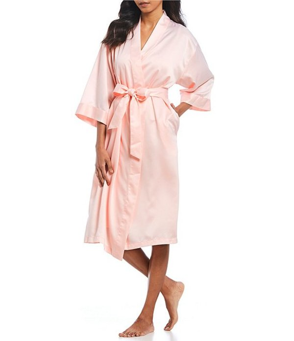 カベルネ レディース ナイトウェア アンダーウェア Solid Satin Wrap Robe Pearl Pink
