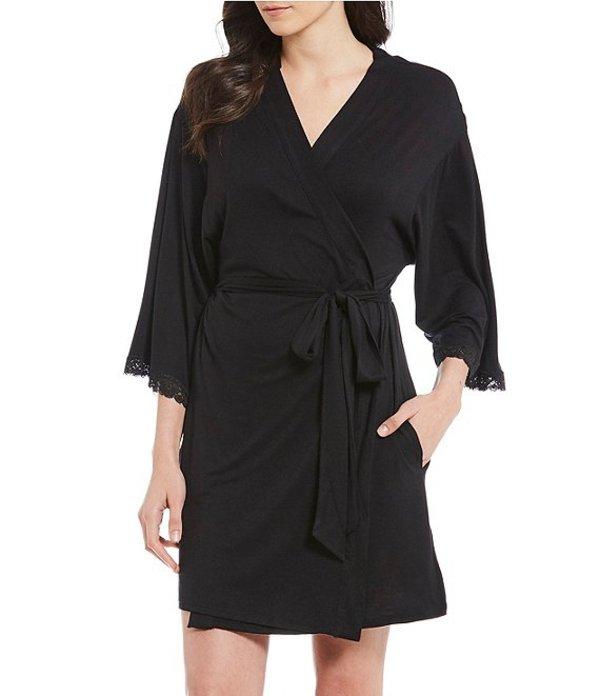 ベッツィジョンソン レディース ナイトウェア アンダーウェア Solid Woven Short Wrap Robe Black