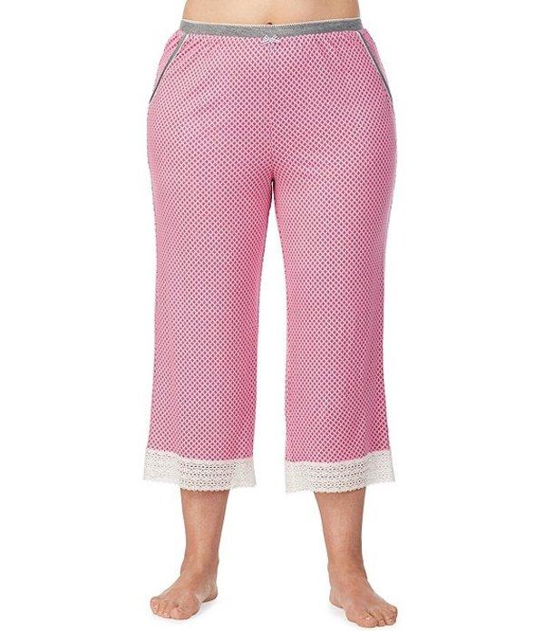 ケンジー レディース ナイトウェア アンダーウェア Plus Printed Stretch Knit Capri Sleep Pants Pink
