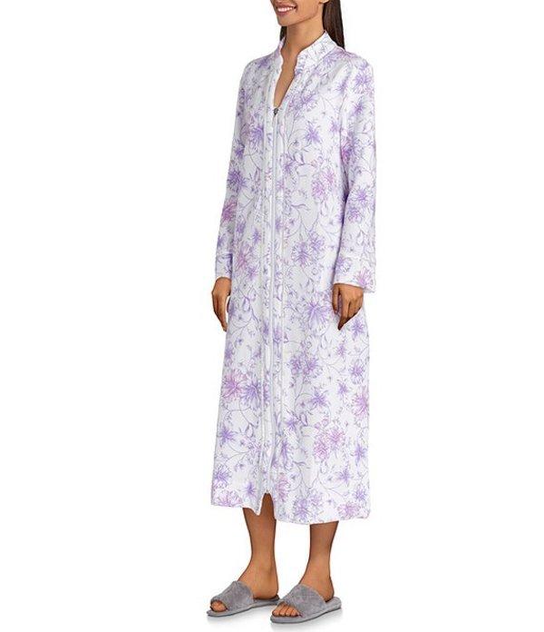 カロールホクマン レディース ナイトウェア アンダーウェア Floral-Print Diamond Quilt Knit Zip Front Long Robe Lilac