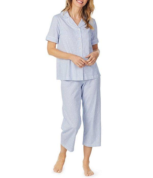 カロールホクマン レディース ナイトウェア アンダーウェア Stripe & Dot-Print Jersey Capri Pajama Set White/Blue