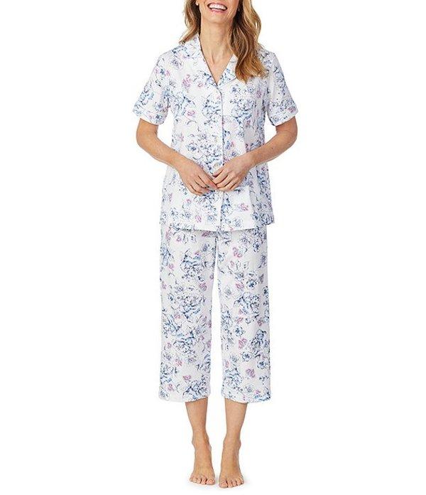 カロールホクマン レディース ナイトウェア アンダーウェア Floral Print Jersey Capri Pajama Set White/Blue