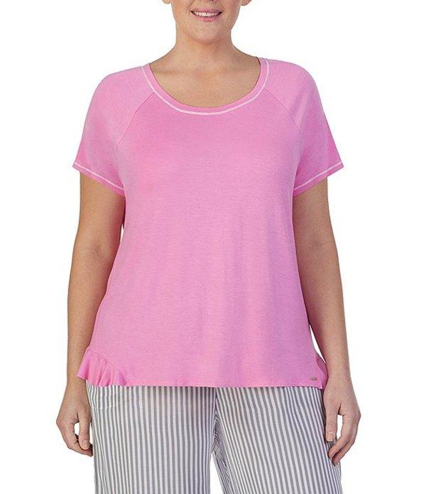 ケンジー レディース ナイトウェア アンダーウェア Plus Solid Ruffled Knit Sleep Top Pink