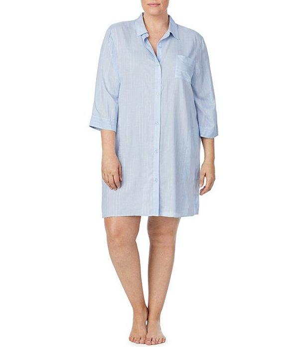ダナキャラン レディース ナイトウェア アンダーウェア Plus Luminous Poise Lurex Striped Print Woven Sleep Shirt Periwinkle/Blue