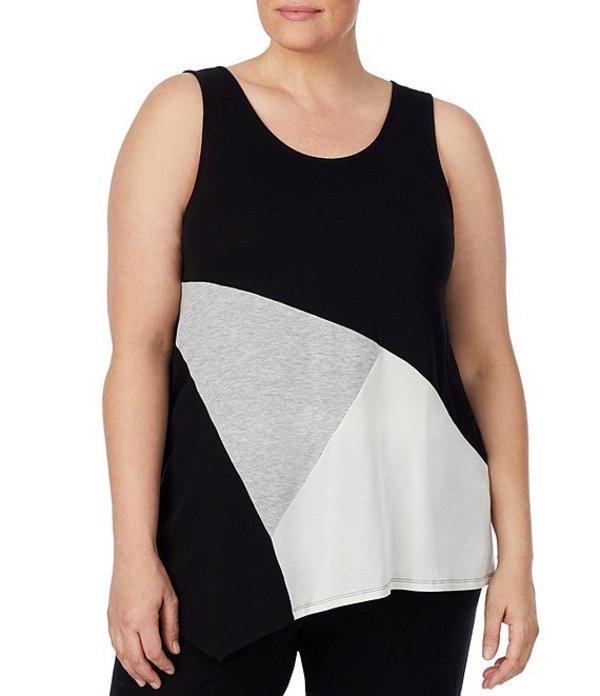 ダナキャラン レディース ナイトウェア アンダーウェア Plus Refined Touch Colorblock Jersey Knit Sleep Tank Black