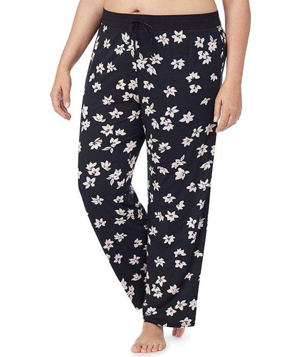 ダナキャラン レディース ナイトウェア アンダーウェア Nostalgic Harmony Plus Floral-Print Knit Sleep Pants Black Floral