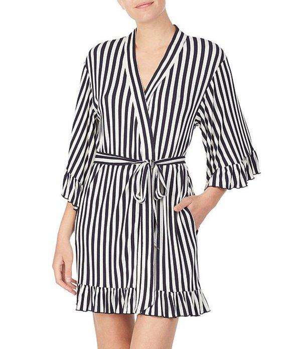 ベッツィジョンソン レディース ナイトウェア アンダーウェア Striped-Print Knit Short Wrap Robe Black/Multi