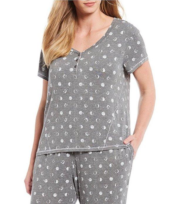 ジャスミンアンド ジンジャー レディース ナイトウェア アンダーウェア Plus Moon-Printed Knit Sleep Top Gray Heather