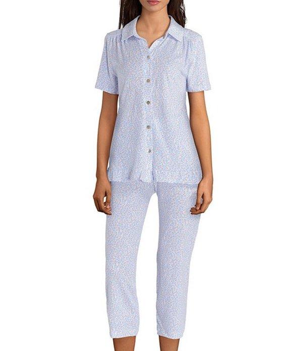 カロールホクマン レディース ナイトウェア アンダーウェア Floral Print Jersey Capri Pajama Set Periwinkle/White
