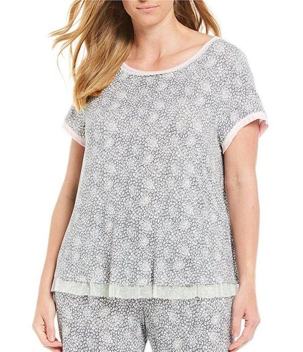 ケンジー レディース ナイトウェア アンダーウェア Plus Leopard Print Jersey Knit Sleep Top Grey/Ivory