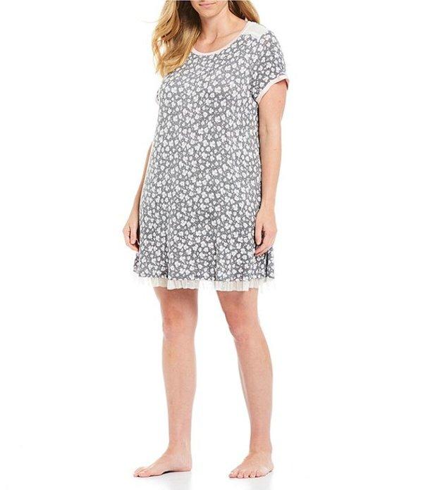 ケンジー レディース ナイトウェア アンダーウェア Plus Floral Print Jersey Knit Sleep Shirt Heather Grey