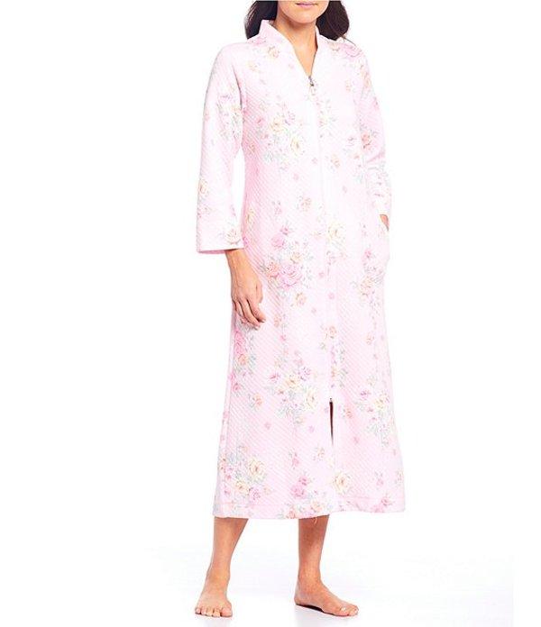 ミス エレーン レディース ナイトウェア アンダーウェア Petite Quilt-In-Knit Floral Print Zip-Front Long Robe Pink