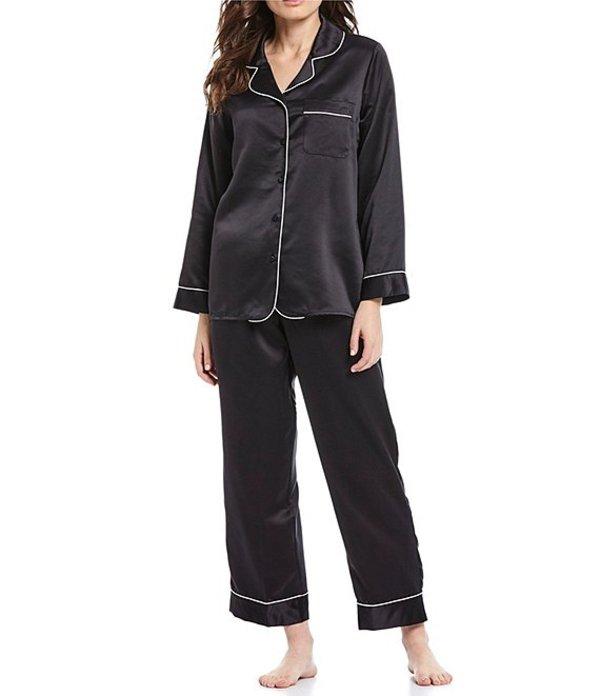 カベルネ レディース ナイトウェア アンダーウェア Solid Satin Pajama Set Black