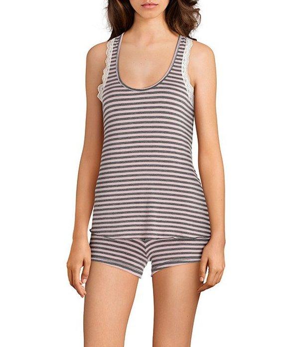 ハニーデュー レディース ナイトウェア アンダーウェア All American Love Stripe Print Shorty Pajama Set Love Stripe