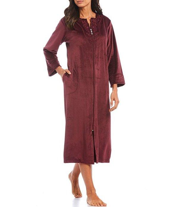 ミス エレーン レディース ナイトウェア アンダーウェア Luxe Fleece Zip-Front Long Robe Aubergine