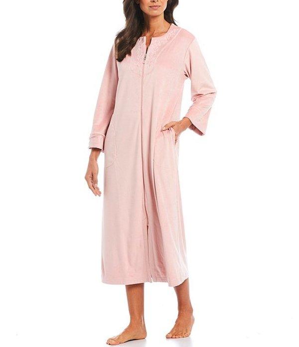 ミス エレーン レディース ナイトウェア アンダーウェア Luxe Fleece Zip-Front Long Robe Pink